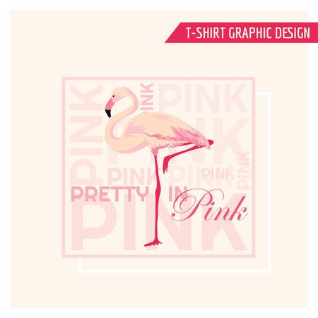 slogan: Tropical Flamingo Graphic Design - for t-shirt, fashion, prints - in vector Illustration