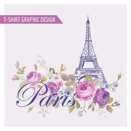 Цветочные Париж Графический дизайн - для футболки, мода, отпечатков - в векторе Иллюстрация