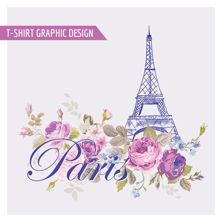 Bloemen Paris Graphic Design - voor t-shirt, mode, prints - in vector Stock Illustratie