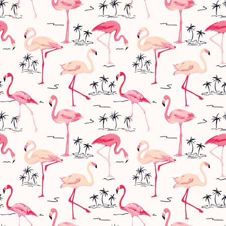フラミンゴ鳥背景 - ベクトルでレトロなシームレス パターン  イラスト・ベクター素材