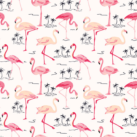 Flamingo Bird Background - Retro seamless pattern in vector Ilustrace