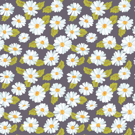 daisy vector: Vintage Floral Daisy Background - seamless pattern for design, print, scrapbook - in vector