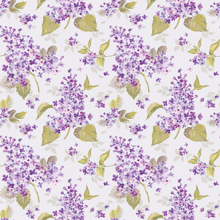 lilac: Vintage Floral Lilac Background - seamless pattern for design, print, scrapbook - in vector Illustration