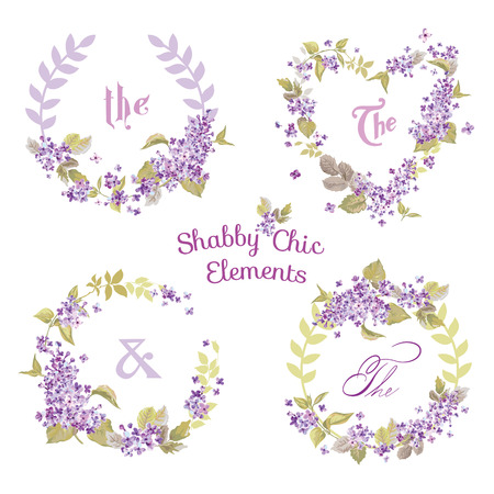 lilac flower: Flower Banners and Tags - for your design and scrapbook - in vector