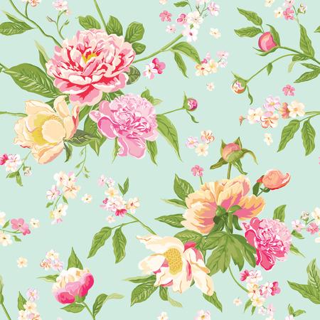Vintage Şakayık Çiçek Arkaplan - Dikişsiz Çiçek Shabby Chic Desen - vektör içinde Çizim
