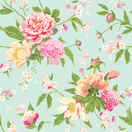 shabby: Vintage Peony Flowers Background - Seamless Floral Shabby Chic Pattern - in vector
