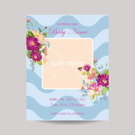 Baby Arrival Card with Photo Frame -Blossom Flowers Theme - in vector Vector