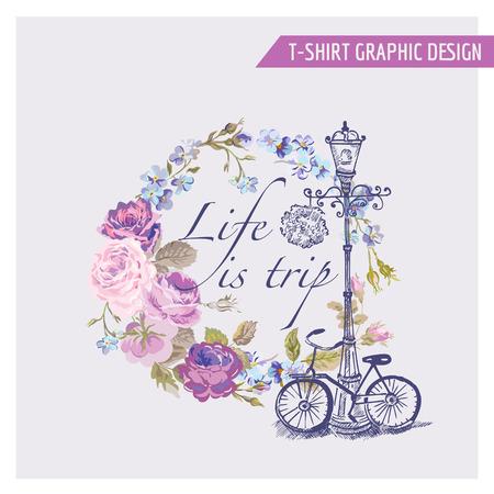 Цветочные Потертый Chic Графический дизайн - для футболки, мода, отпечатков - в векторе