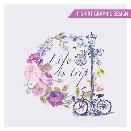 Floral Shabby Chic Graphic Design - for t-shirt, fashion, prints - in vector 免版税图像 - 41221761