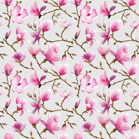 scrap: Magnolia Flowers Background - Vintage Seamless Pattern - in vector