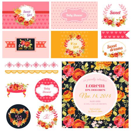 flores de cumpleaños: Álbum de recortes elementos de diseño - Baby Shower Flower Theme - vector