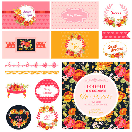 felicitaciones cumplea�os: �lbum de recortes elementos de dise�o - Baby Shower Flower Theme - vector