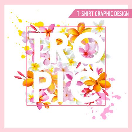 beautiful lady: Tropical Flowers Graphic Design - for t-shirt, fashion, prints - in vector