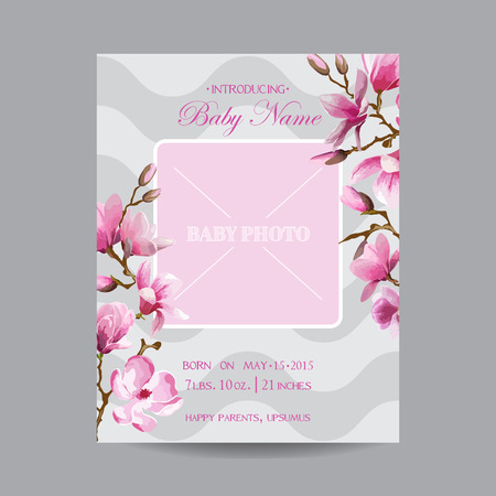 cover girls: Baby Arrival Card with Photo Frame -Magnolia Flowers Theme - in vector