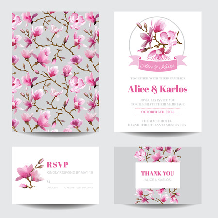 Invitation or Greeting Card Set - for Wedding, Baby Shower - in vector Illustration