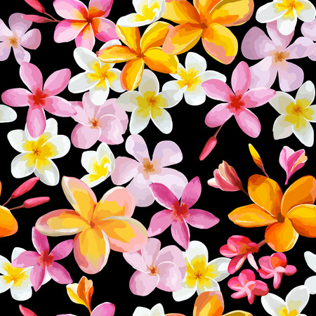 tropical flowers: Tropical Flowers Background - Vintage Seamless Pattern - in vector