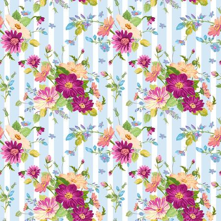 ヴィンテージの花の背景 - シームレスなパターンのデザイン、印刷、スクラップ ブック - ベクトルで  イラスト・ベクター素材
