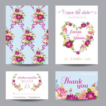 announcement: Invitation or Greeting Card Set - for Wedding, Baby Shower - in vector Illustration