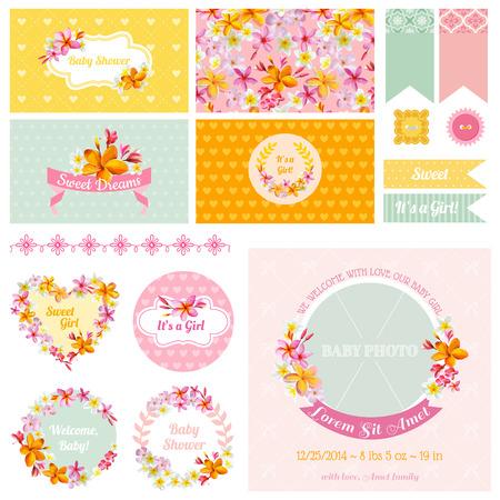 cute baby girls: Baby Shower Flower Theme - Scrapbook Design Elements, Backgrounds - in vector
