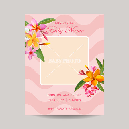 children birthday: Baby Arrival Card with Photo Frame -Tropical Flowers Theme - in vector