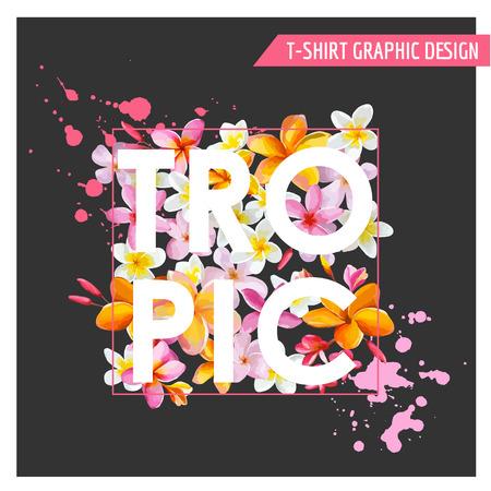 T シャツ、ファッションのための熱帯の花グラフィック デザイン - 印刷 - ベクトル 写真素材 - 41622466