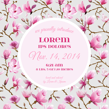 baby girl arrival: Baby Arrival or Shower Card - with Peony Flower Design - in vector