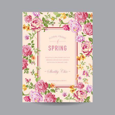 marco cumpleaños: Marco floral de la vendimia - para la invitación, boda, tarjeta de Baby Shower - en el vector