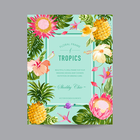 shower: Tropical Floral Frame - for Invitation, Wedding, Baby Shower Card - in vector Illustration