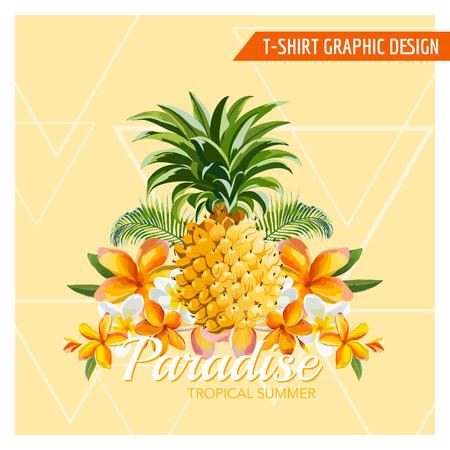 熱帯の花とパイナップル グラフィック デザイン - ファッション、t シャツ プリント - ベクトル