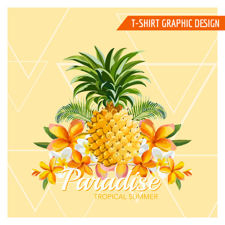 pineapple: Tropical Flowers and Pineapple Graphic Design - for t-shirt, fashion, prints - in vector