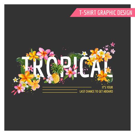 열 대 꽃 그래픽 디자인 - 티셔츠, 패션, 인쇄에 - 벡터