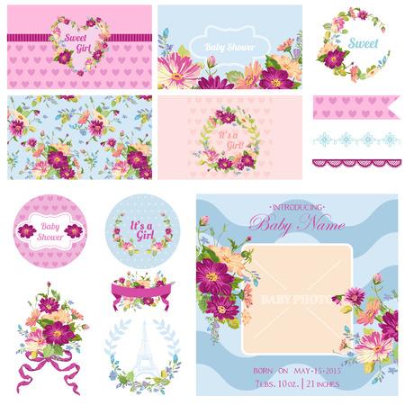 photo frames: Scrapbook Design Elements - Baby Shower Flower Theme - in vector
