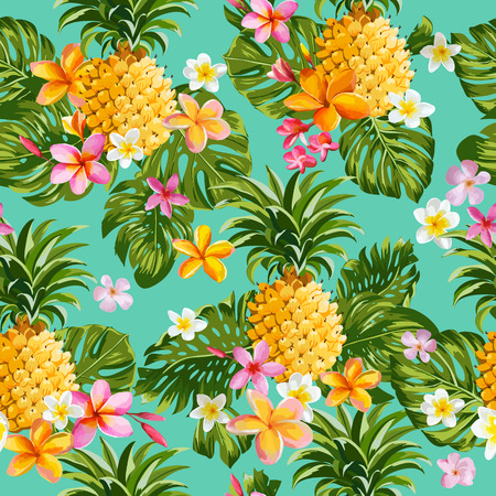 Pinapples and Tropical Flowers Background -Vintage Seamless Pattern - in vector Ilustração