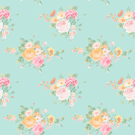 shabby: Vintage Flowers Background - Seamless Floral Shabby Chic Pattern - in vector