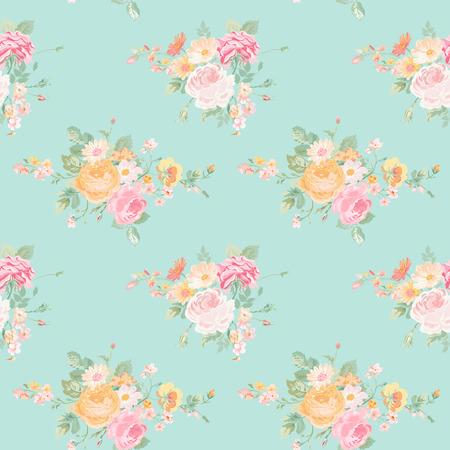 Vintage květiny pozadí - Seamless Floral Ošumělý Chic Pattern - ve vektoru