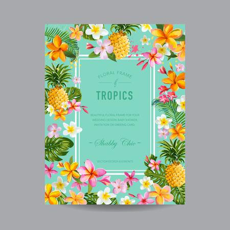 Tropical Floral Frame - for Invitation, Wedding, Baby Shower Card - in vector Illustration