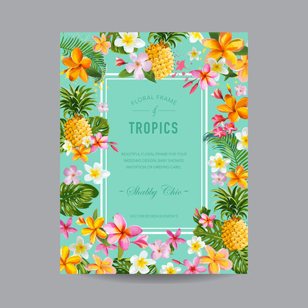 tropical flowers: Tropical Floral Frame - for Invitation, Wedding, Baby Shower Card - in vector Illustration