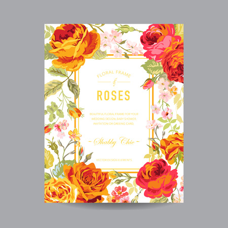 -招待状、結婚式、ベビー シャワー カード - ベクトルのビンテージ花のフレーム 写真素材 - 42155072