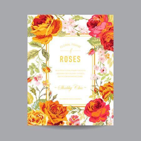 wedding  art: Vintage Floral Frame - for Invitation, Wedding, Baby Shower Card - in vector