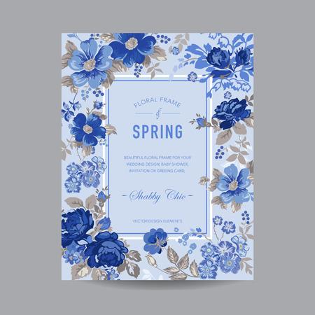 -招待状、結婚式、ベビー シャワー カード - ベクトルのビンテージ花のフレーム 写真素材 - 42155075