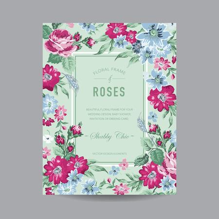 rose frame: Vintage Floral Frame - for Invitation, Wedding, Baby Shower Card - in vector