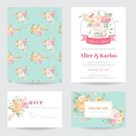 tarjeta de invitacion: Invitación o tarjeta de felicitación Set - para la boda, la fiesta de bienvenida - en el vector