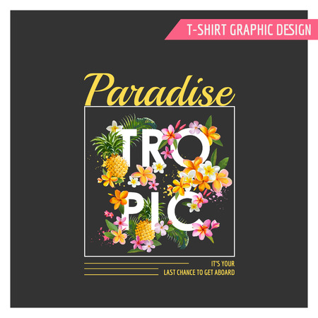 tropical flowers: Tropical Flowers Graphic Design - for t-shirt, fashion, prints - in vector