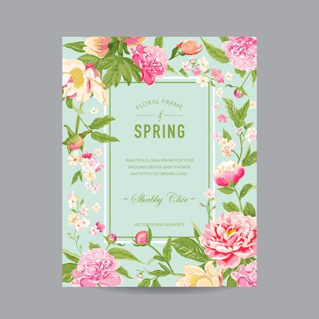 nacimiento de bebe: Marco floral de la vendimia - para la invitaci�n, boda, tarjeta de Baby Shower - en el vector