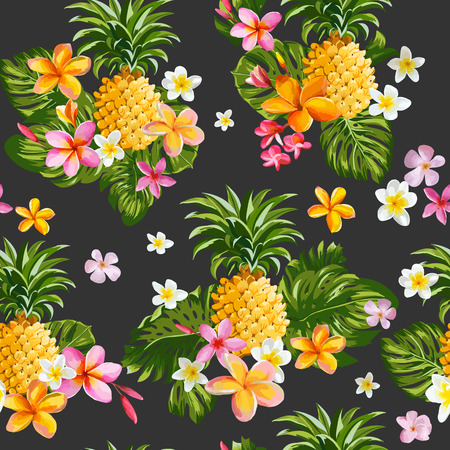 Pinapples and Tropical Flowers Background -Vintage Seamless Pattern - in vector Çizim