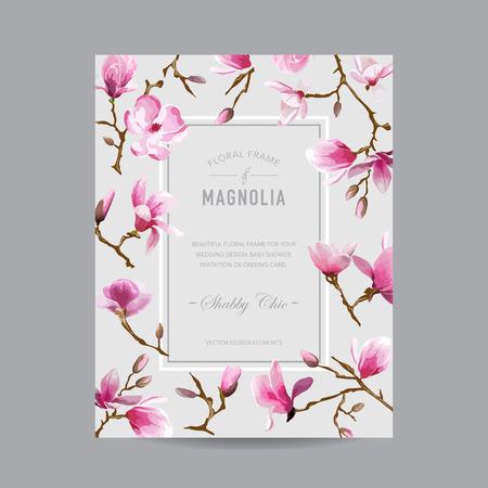 -招待状、結婚式、ベビー シャワー カード - ベクターの花のマグノリア フレームはヴィンテージ  イラスト・ベクター素材