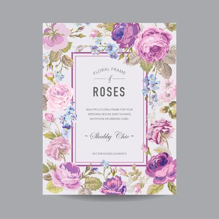-招待状、結婚式、ベビー シャワー カード - ベクトルのビンテージ花のフレーム 写真素材 - 42774131