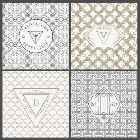 Set di Vintage Artdeco Cards - per l'invito, Baby Shower, Wedding- nel vettore