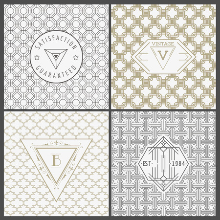 tile pattern: Set of Vintage Artdeco Cards -  for Invitation, Baby Shower, Wedding- in vector