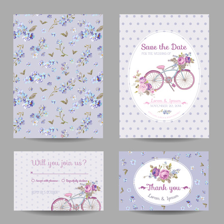 girl happy: Invitation or Greeting Card Set - for Wedding, Baby Shower - in vector Illustration
